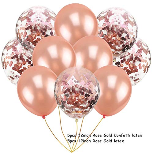 14Pcs Multi Confetti Air Balloons Happy Birthday Party Rose Gold Helium Balloon Decoration Wedding Festival Balon Party Supplies Rose Gold Latex -