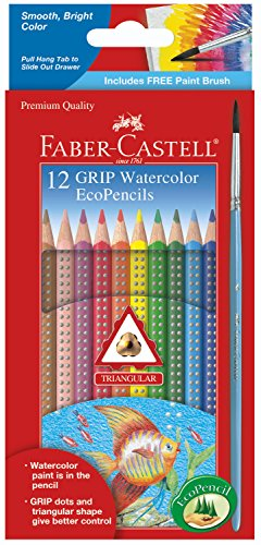Faber-Castell Grip Watercolor EcoPencils - 12 Water Color Pencils with Brush ()