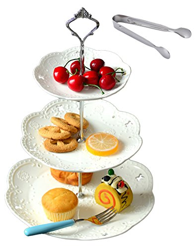 Jusalpha 3-tier White Ceramic Cake Stand Dessert Stand-Cupcake Stand-Tea Party Serving Platter, Comes In a Gift Box- Free Sugar Tong (Silver/White, 1 Set)