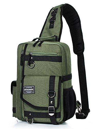 Messenger Bag for Men, Cross Body Shoulder Sling Bag Travel Outdoor Gym Backpack Army Green
