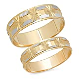 14K Solid White and Yellow Two Tone Gold His & Hers Matching Snowflake Design Wedding Band Ring Set (Choose a Size)