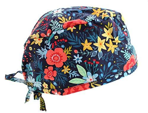(Navy Blue Wildflower Scrub Cap)