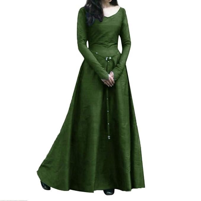 2c5b53036ac Fiaya Women s Plus Size Medieval Vintage Renaissance Long Sleeve Bandage  Floor Length Party Dress Gown (