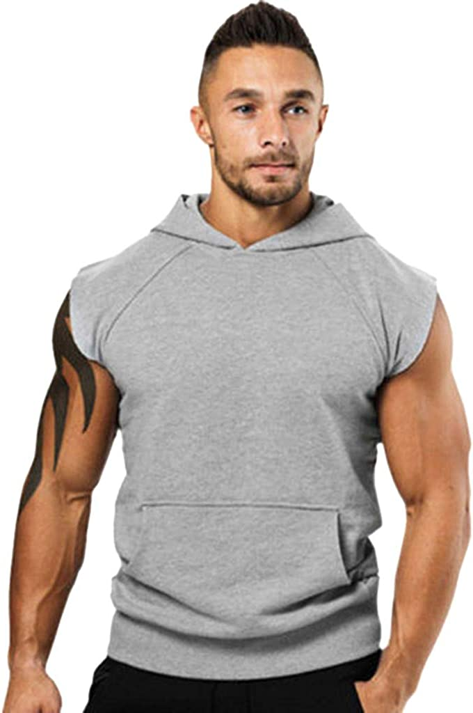 Leaf2you Mens Bodybuilding Sleeveless Hoodies Gym Workout Hooded Tank Tops Pure Color Summer Casual T Shirt Vest Sweatshirt