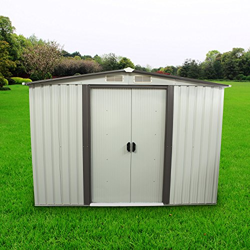 Sliverylake 8x8 Feet Outdoor Steel Garden Storage Shed Utility Tool House Backyard Lawn Building Garage With Vents (Gable Outdoor Garden)
