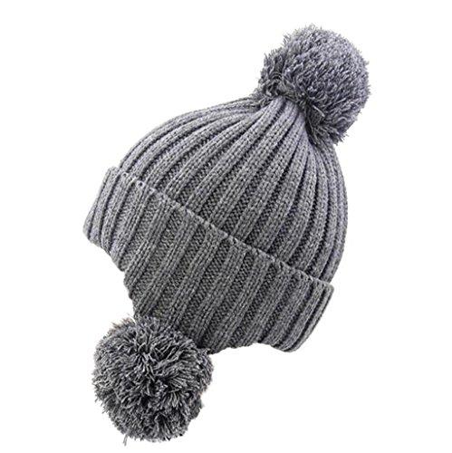ZHAS Bola de pelo proteger el oído Cálido gorro de punto, Exterior Moda Sombrero peludas khaki