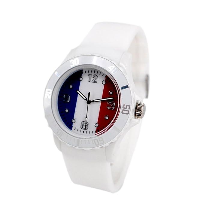 Reloj con la bandera de Francia con pulsera de Silicona