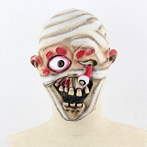 Xigeapg Horror Darkness Zombie Mummy Fire Face Smelly Halloween Room Escape Haunted House Prop Scary Latex Zombie Ghost Mask A]()