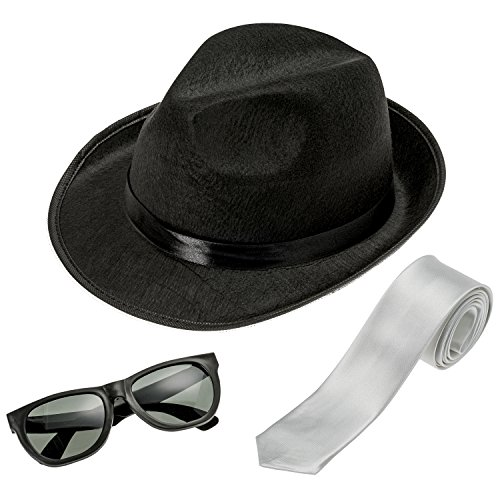 NJ Novelty - Fedora Gangster Hat, Black Pinched Hat Costume Accessory + White Band (Black Hat, White Tie & Glasses) -