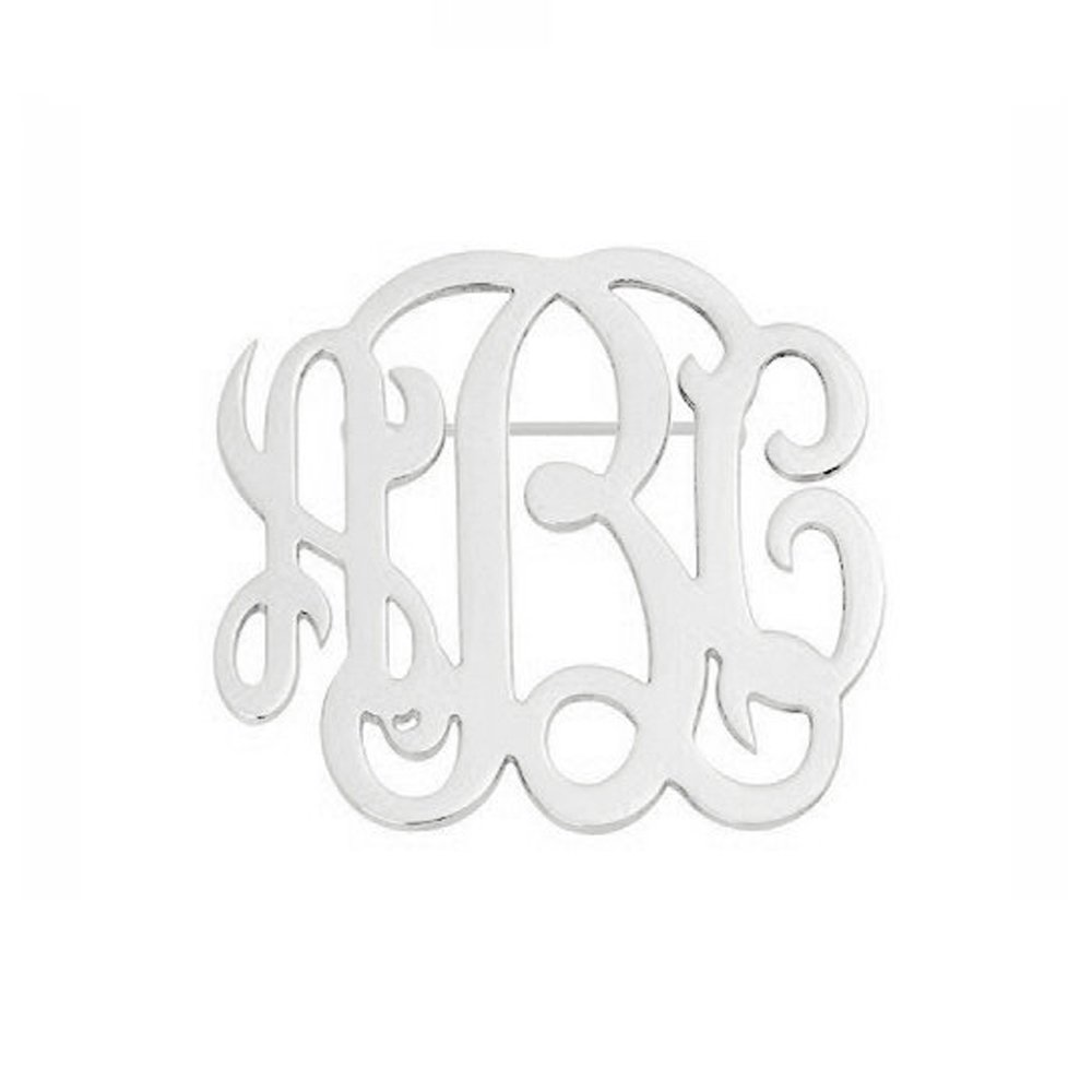 AOCHEE Name Brooch Personalized 3 Initial Brooch Custom Monogram Letter Pins Jewelry (Silver)