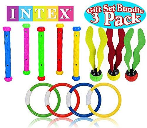 Intex Underwater Swimming/Diving Pool Toy Rings (4 Rings), Diving Sticks (5 Sticks) & Aquatic Dive Balls (3 Balls) Gift Set Bundle - 3 Pack