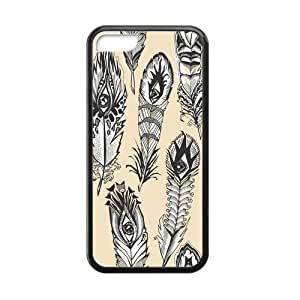 Custom Beautiful Peacock Feather Pattern Case for iPhone 5C TPU (Laser Technology)