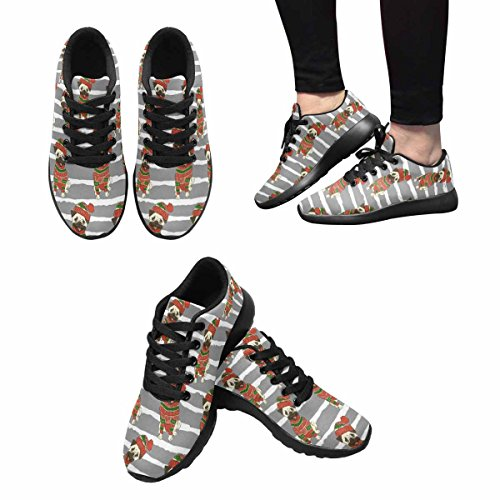Interestprint Mujeres Footing Sneaker Running Lightweight Go Easy Walking Casual Comfort Zapatos Para Correr Vacaciones De Navidad, Un Divertido Pug In Sweater Y Winter Hat Multi 1