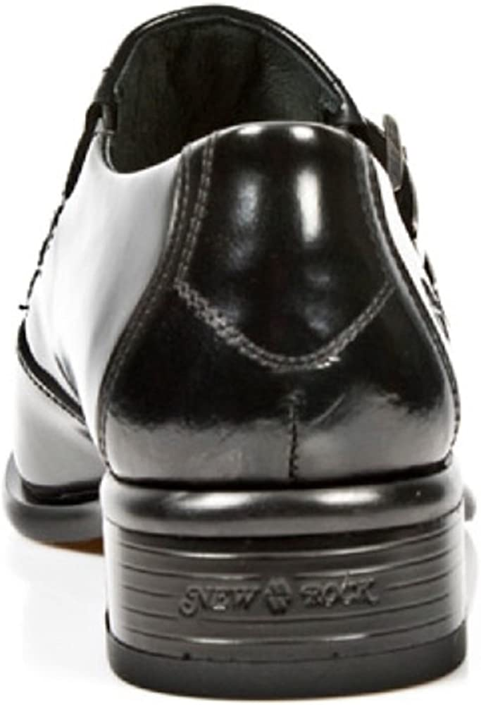 New Rock Newrock 2246-S20 Black Smart Patent Leather West Steel Buckle Shoes