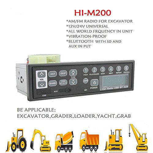 12v-24v-car-bluetooth-excavator-radio-fm-am-usb-mic-mp3-for-hitachi-komatsu-kato
