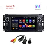 """MCWAUTO Android 7.1 Car Stereo GPS DVD Player for Dodge Ram Challenger Jeep Wrangler JK Head Unit Single Din 6.2"""" Touch Screen Indash Radio Receiver with Navigation Bluetooth/3G/Rear Camera"""