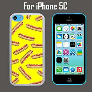 Hotdog Mustard Pattern Custom Case/ Cover/Skin *NEW* Case for Apple iPhone 5C - Black - Plastic Case (Ships from CA) Custom Protective Case , Design Case-ATT Verizon T-mobile Sprint ,Friendly Packaging - Slim Case