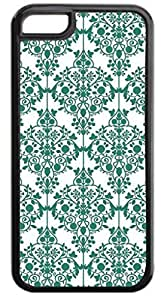 03-Floral Damask Pattern- Case for the APPLE IPHONE 5c ONLY-Hard Black Plastic Outer Case with Tough Black Rubber Lining