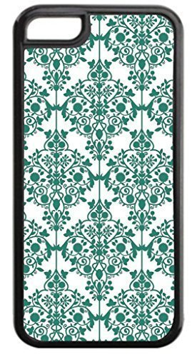 03-Floral Damask Pattern- Case for the APPLE IPHONE 5, ipod touch4-NOT THE ipod touch4!!!-Hard Black Plastic Outer Case with Tough Black Rubber Lining