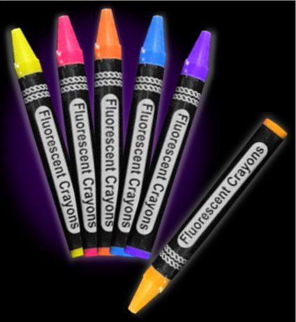 Jumbo Black Light Reactive Neon Color Crayons (6 pack) #12996 -