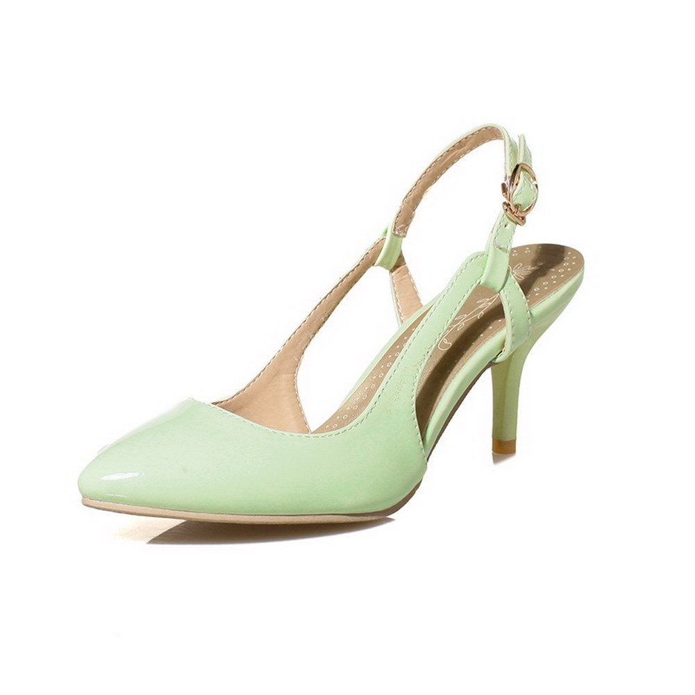 WeiPoot Women's PU Solid Buckle Closed Toe High-Heels Heeled-Sandals, Green, 42 by WeiPoot