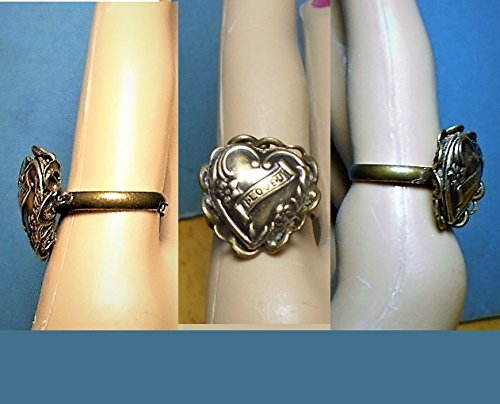 """1 """" I Love U"""" Heart Ring, Open Work Filigree Antiqued Brass Puffy Heart in Brass Open Scrolled Adjustable Ring"""