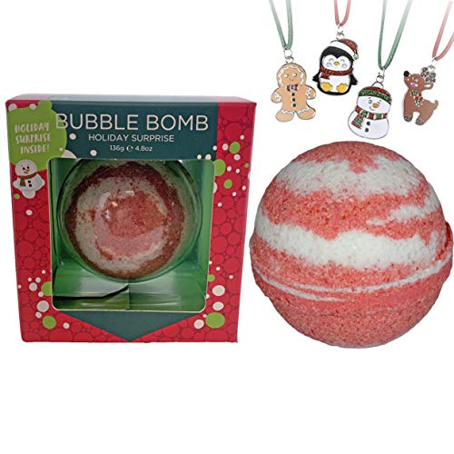 Christmas Bubble Bath Bomb for Girls with Surprise Kids Holiday Necklace Inside by Two Sisters Spa. Large 99% Natural Fizzy in Gift Box. Moisturizes Dry Sensitive Skin. Releases Color, Scent, Bubbles.