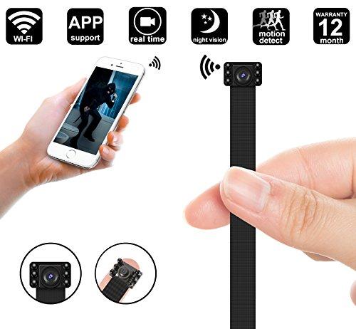 WIFI Mini Spy Camera, Night Vision 1080P Portable Mini DIY Hidden Camera Module/Nanny Cam - WIFI Live Stream View - Motion Detection - Push Notification Support iOS & Android, PC - Night Vision Hidden Cameras