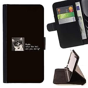 BullDog Case - FOR/Sony Xperia Z2 D6502 / - / Dude Cat - Funny /- Monedero de cuero de la PU Llevar cubierta de la caja con el ID Credit Card Slots Flip funda de cuer