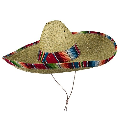 Natural Straw Sombrero (Jacobson Hat Company Serape Band Straw Sombrero - Red)