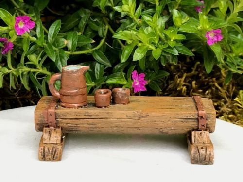 ShopForAllYou Figurines and Statues Miniature Dollhouse Fairy Garden ~ Wood Look Resin Bench w Tea Table ~ New Search on Amazon