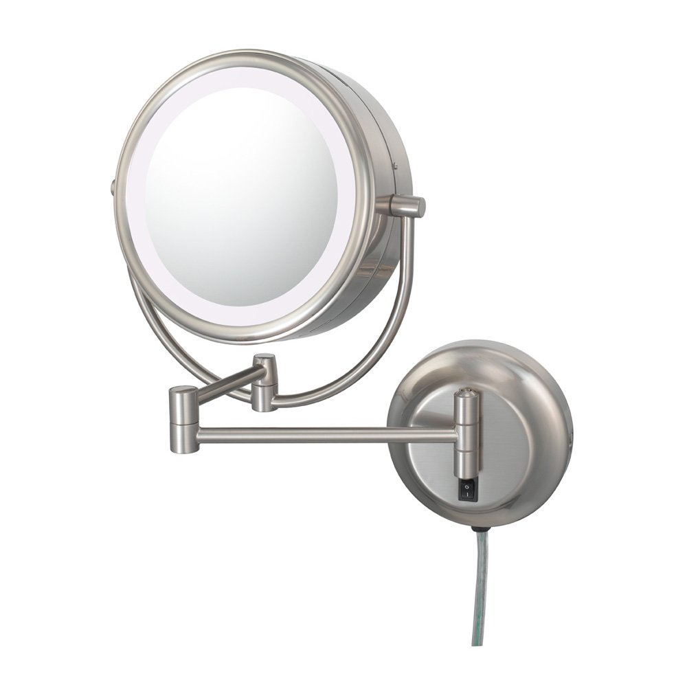 Kimball and Young 92575 Neo Modern Double-Sided LED Mirror, 1X and 5X Magnification, Brushed Nickel