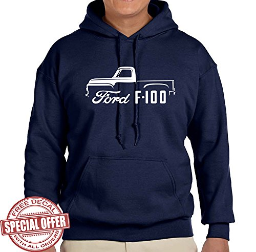 1953-56 Ford F100 Pickup Truck Classic Outline Design Hoodie Sweatshirt large navy blue