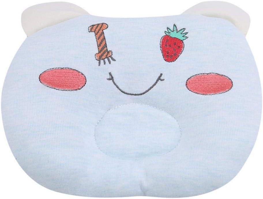 Almohada de bebé con forma de cabeza y almohada bordada con dibujos animados, para recién nacido, corrección correctiva de la cabeza del bebé suministros azul azul