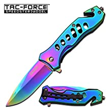TAC Force TF-844 Spring Assist Folding Knife, Rainbow Straight Edge Blade, Rainbow Handle, 3.75-Inch Closed