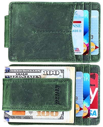 Money Clip, Front Pocket Wallet, Leather RFID Blocking Strong Magnet thin Wallet ()