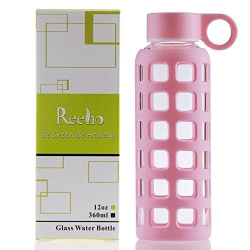 Reeho® Sportflasche Trinkflasche aus Glas, BPA-frei Wasserflasche Glas, Borosilikat Glasflasche Mit Silikonhülle (Rosa, 360ml)