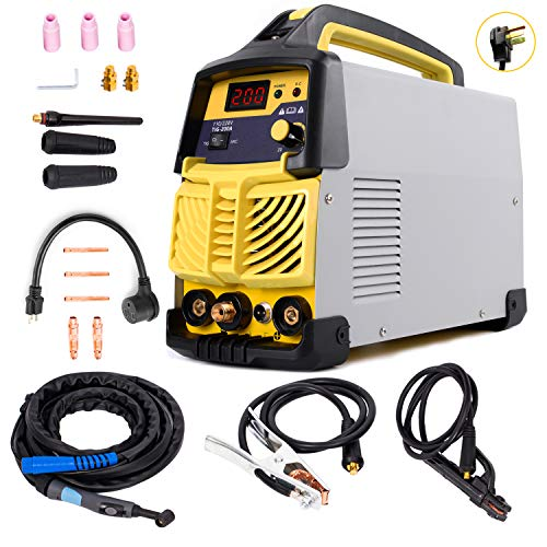 S7 TIG-200 Welding Machine, 200 Amp Gas HF TIG&ARC Portable AC-DC (110V/220V) Inverter Welder for Stainless Steel, Alloy Steel, Carbon Steel, Copper, Copper Alloy and Other Non-Ferrous Metal Welding ... from S7