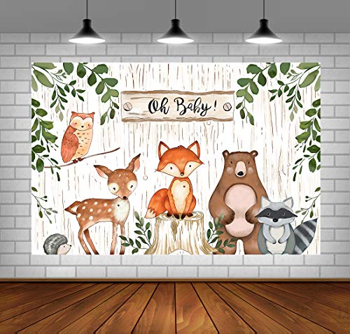 Woodland Backdrop for Baby Shower Jungle Animals Theme Baby Shower Background Woodland Baby Shower Decorations Vinyl Woodland Background for Birthday Party -