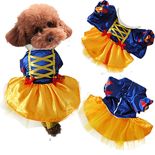 Z-YQL Snow White Dog Costume - Halloween Princess Puppy Dress, Snow White Pet Apparel for Party Christmas Halloween Special Events Costume