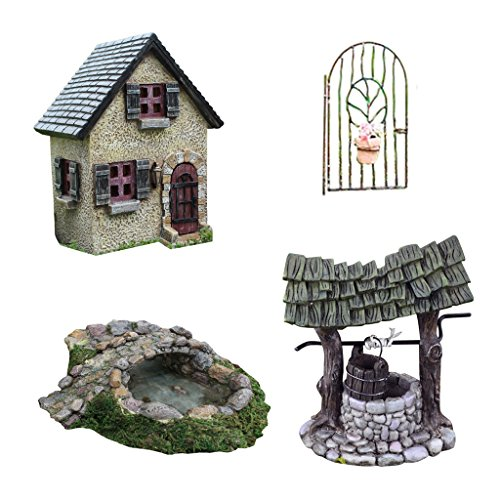 Bundle Of 4 Pieces Fairy Garden Kit  And Garden Ornaments And Accessories With Wishing Well  Vine Gate  Stone Bridge Pond And Old Rectory