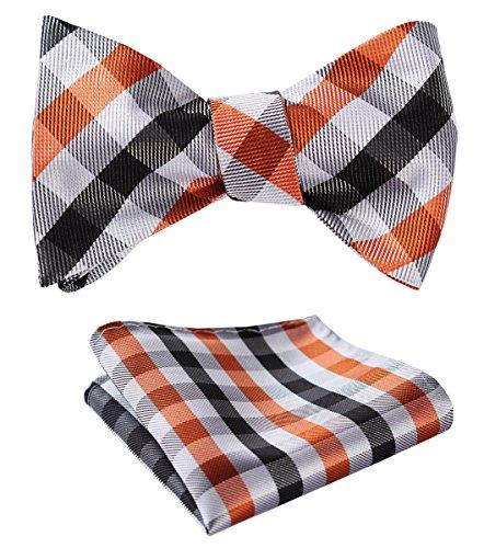 HISDERN SetSense Men's Plaid Jacquard Woven Self Bow Tie Set One Size Orange / Black / White - Orange Silk Bow Tie