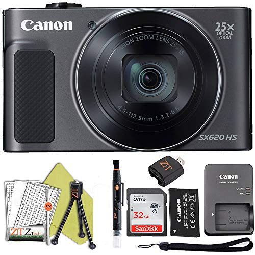 Canon PowerShot SX620 Digital Camera w/25x Optical Zoom – Wi-Fi & NFC Enabled (Black) ZeeTech Bundle (32GB Card Starter Bundle)