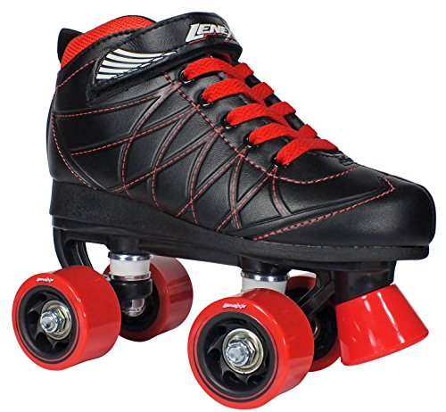 Lenexa Hoopla Youth Girls Roller Skates for Kids Children - Girls and Boys - Kids Rollerskates - Childrens Quad Derby Roller Skate for Youths Boy/Girl - Kids Skates (Black w/Red Wheels Size 1)