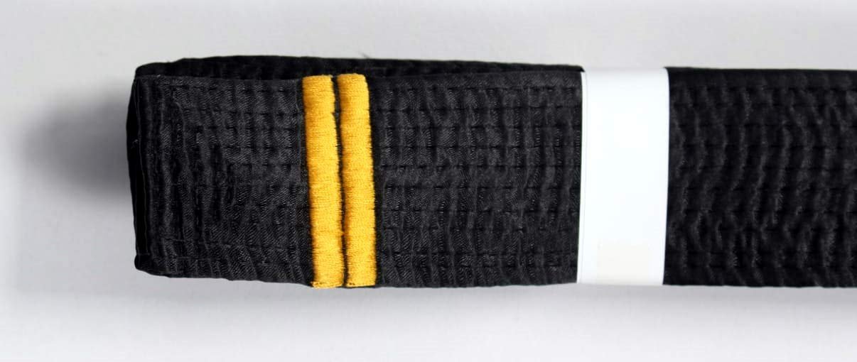 Shihan 2 DAN BAR Karate Black Belt Satin Embroidery 2 DAN BAR 320cm Length Kempo Kickboxing by Shihan
