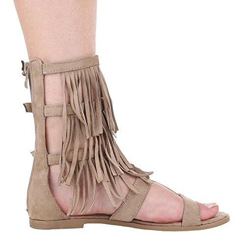 Ital-Design Damen Schuhe, FC16-N08, Sandalen Römer Sandaletten mit Fransen Beige