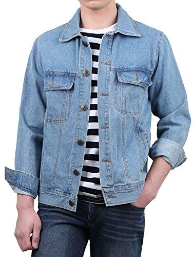 Men Blue Turn Pockets Down Allegra Collar Jeans Denim Jacket Flap uxcell Classic K Chest 6nxBqOUw