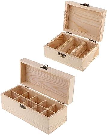 2 Piezas De Caja De Madera De Aceite Esencial De Madera: La Caja De Almacenamiento De Aceites Tiene Capacidad para 3/10 Botellas Y Bolas De Rodillos,: Amazon.es: Hogar