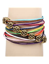 Mintik Jewelry Womens Ladies Handmade Multi-Layer Beads Charm Colorful Rope Wrap Bracelet