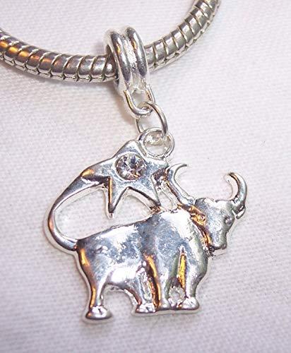 - Zodiac Taurus Bull Rhinestone Dangle Bead fits Silver European Charm Bracelets Crafting Key Chain Bracelet Necklace Jewelry Accessories Pendants
